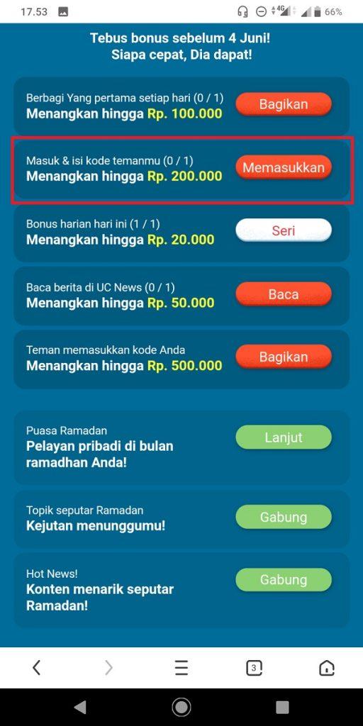 Cara Dapatkan Uang 1 Juta dari UC Browser