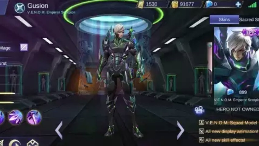 Bocoran Skin Mobile Legends Gusion VENOM