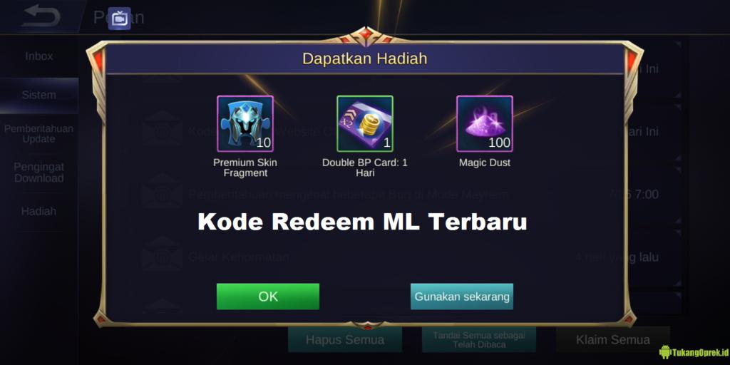 Kumpulan Kode Redeem ML