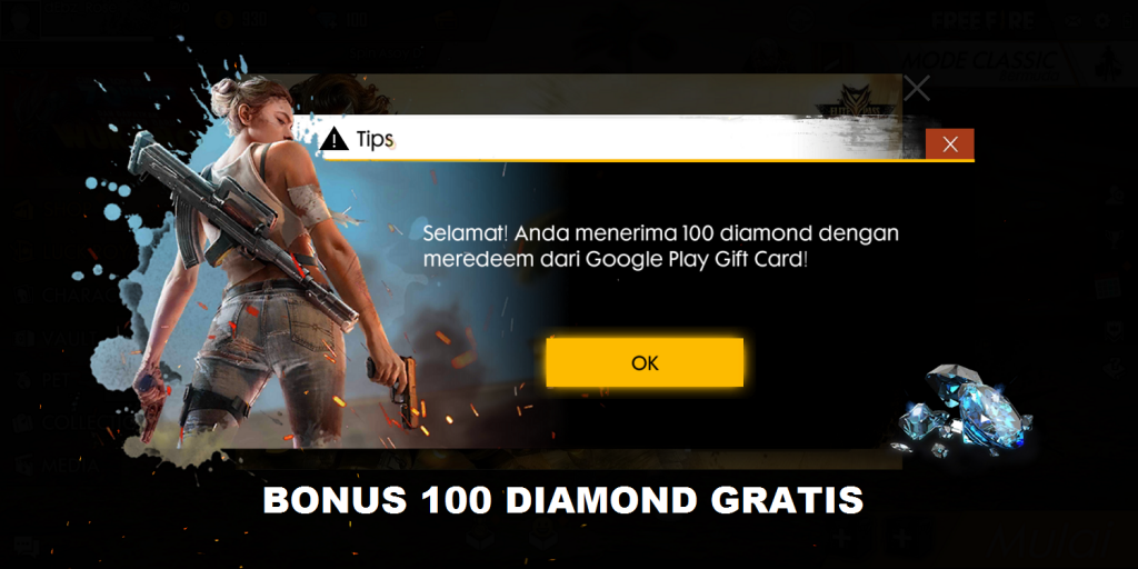 Trik 100 Diamond Gratis Free Fire