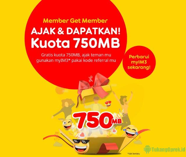 750 MB Gratis Kuota Internet Indosat