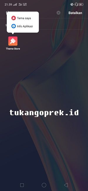 masuk info aplikasi theme store
